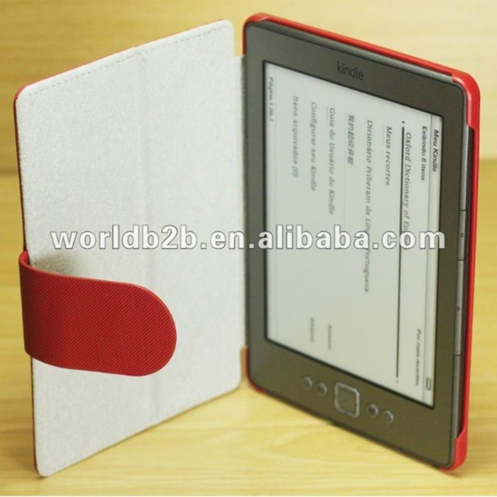 Gray Leather skin hard Case Cover for Amazon Kindle 4 with stand,many leather verns and colors are available