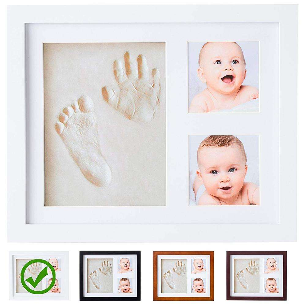 Baby first year souvenir newborn baby collage photo frame wood new born baby footprint Handprint picture frame kits