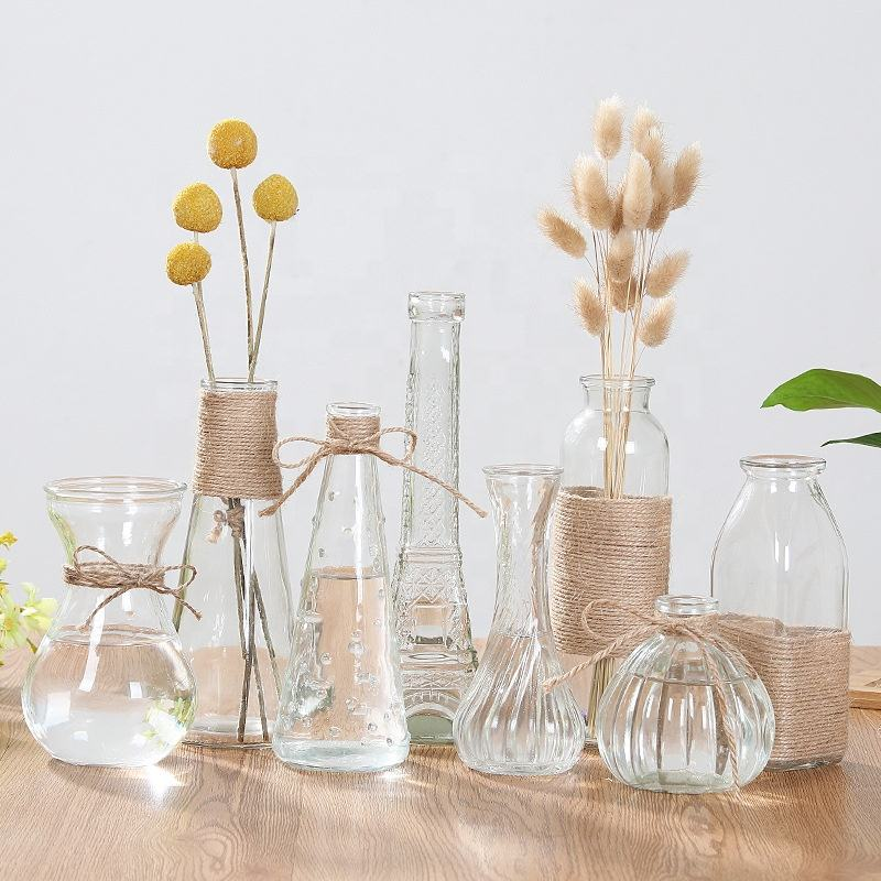 Japanese / Nordic Style modern decoration decorative flower glass bud vase for dried flower