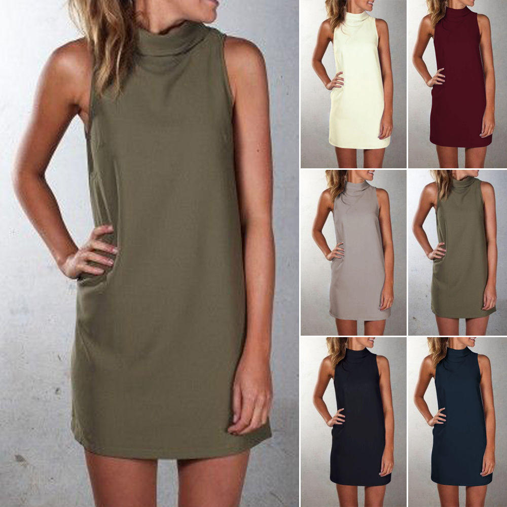 FY plus size women clothing summer autumn casual high neck long tops for women shirts sleeveless pure color ladies shirt dress