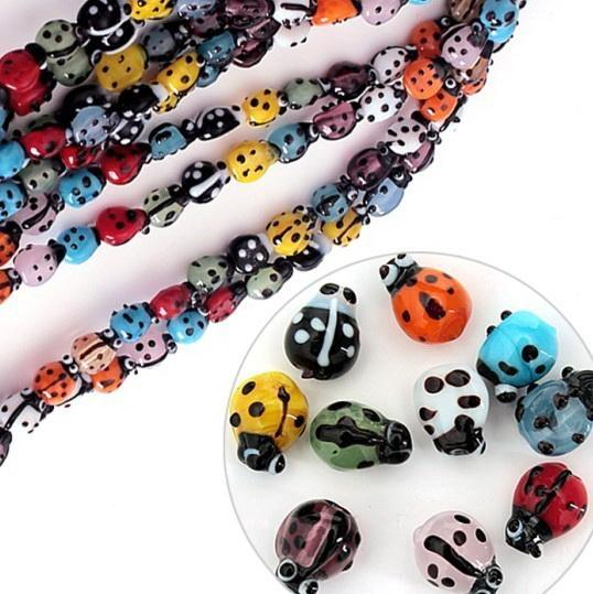 New arrival Mixed Colours Creative Lampwork Glass Ladybug mushroom Beads For DIY Bracelet Necklace Jewelry Making Accessories