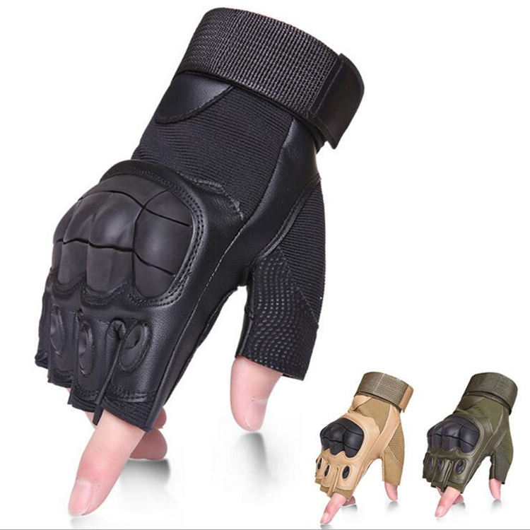 Hot Sell High Quality Leather Non-slip Cycling Fishing Outdoor Sports Military Tactical Training Hiking Bicycle Fingerless Glove