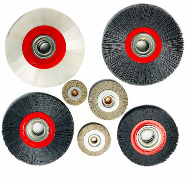 Wire brush wheel that can be mounted on bench grinder angle grinder for deburring and polishing