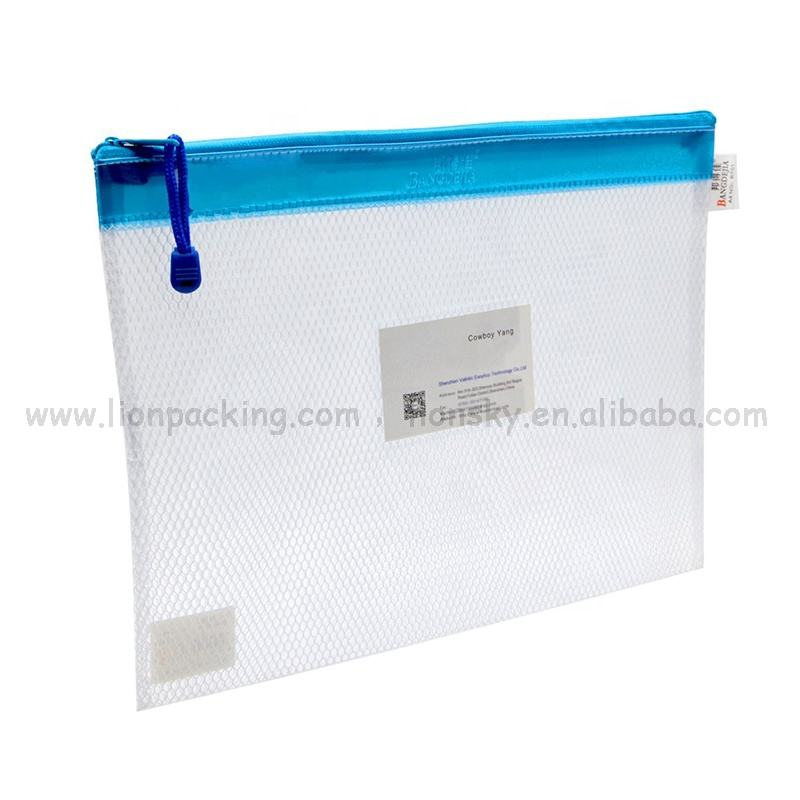 Customized 투명 small PVC mesh zip lock pouch bag with custom logo