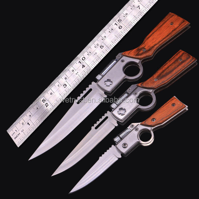 Army Pocket Knife Knives with Light Wood Handle EDC Tactical Camping Survival Folding AK47 Gun Knife