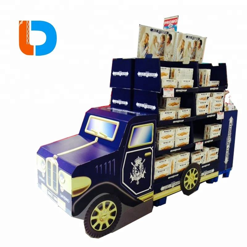 China Factory Cheap Custom School Bus Shaped Cardboard Display Stand