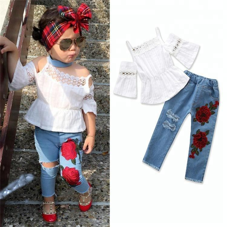 European style girl summer denim clothes sets kids fly sleeve t-shirt+denim jeans 2piece outfits