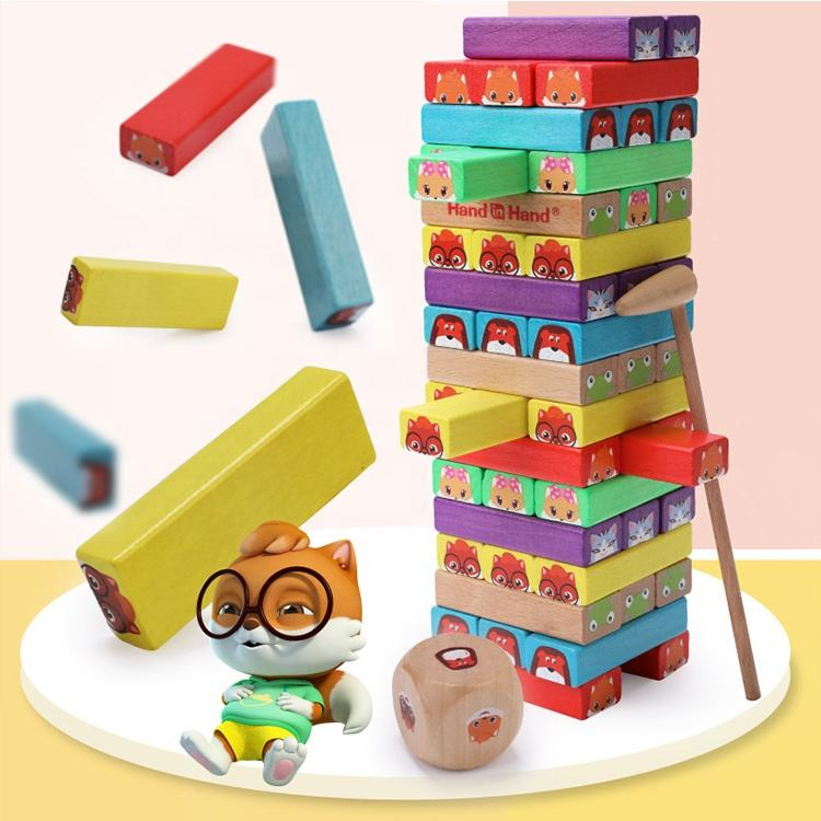 Custom Intelligent Creative Wooden Jumbo Blocks Tacking Board Giant Blocks construction toys