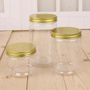 Factory price Eco-friendly food grade PET plastic unique candy food jars with aluminium lid