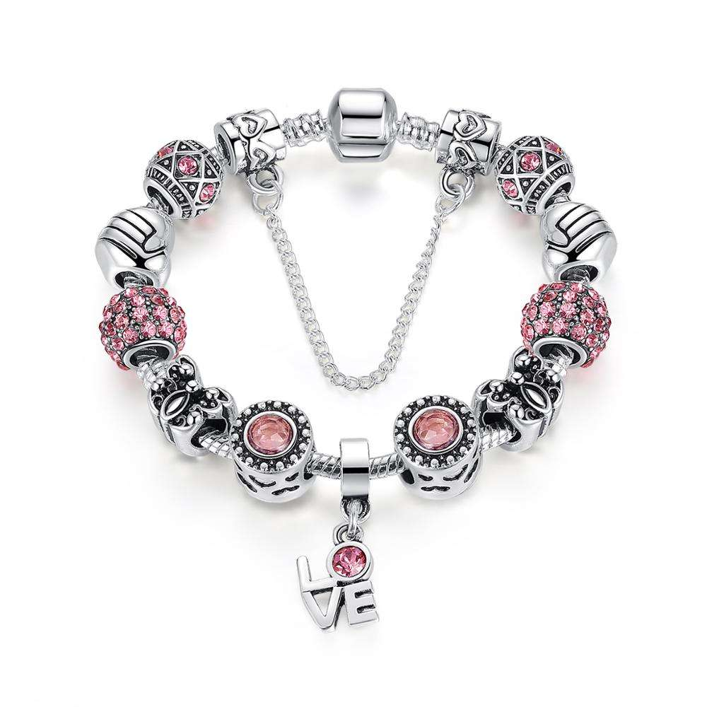 Qings Silver Plated Charm Bracelet Show Love Gifts for Girls and Daughters The Most Desirable Gift for a Woman