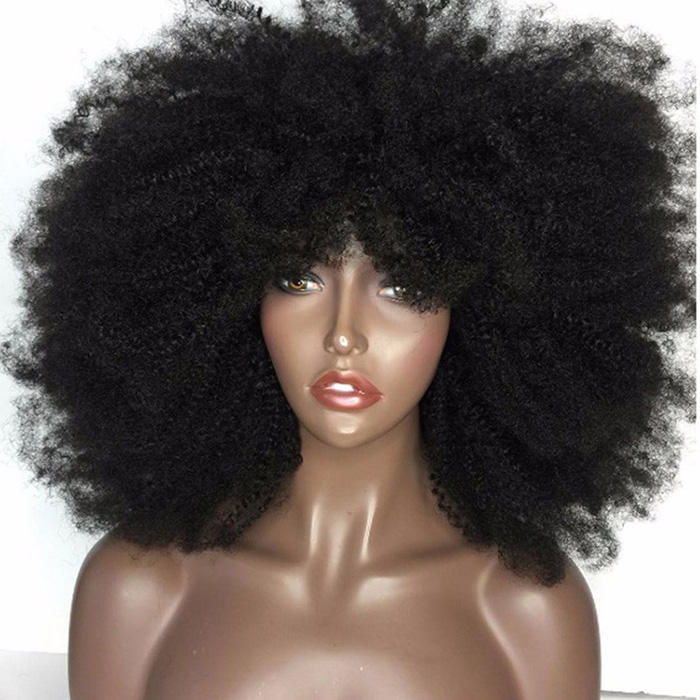프리미어 공장 큰 Stock Free Shipping Top Quality 100% 인간의 Hair Lace 앞 Afro 변 태 Wig 대 한 Black Women