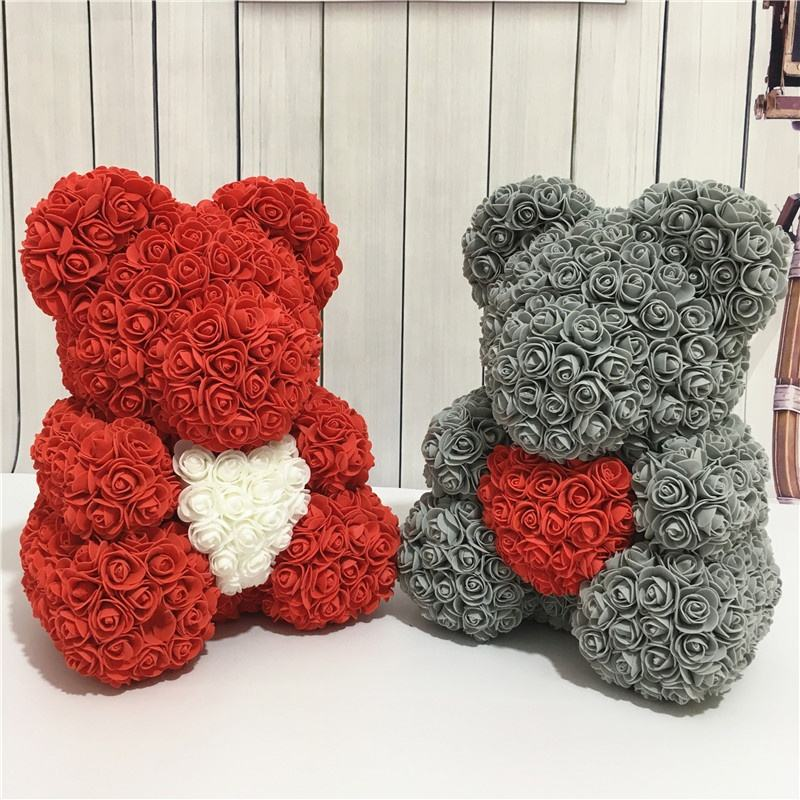 High Quality hot sale 40cm with heart rose bear