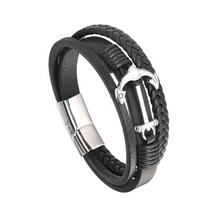 Fashion Anchor Link Wide Genuine Men Stainless Steel Leather Bracelet