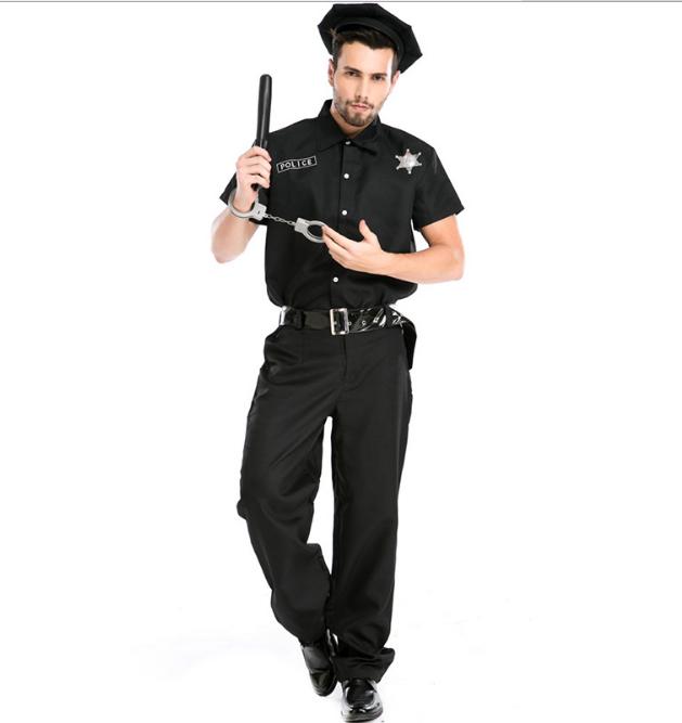 Américain USA Trafic Patrol Officer COP Homme Mâle Fancy Dress Costume Outfit XL