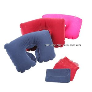 Comfortable cute flocking pvc U shape neck inflatable travel pillow from yiwu factory
