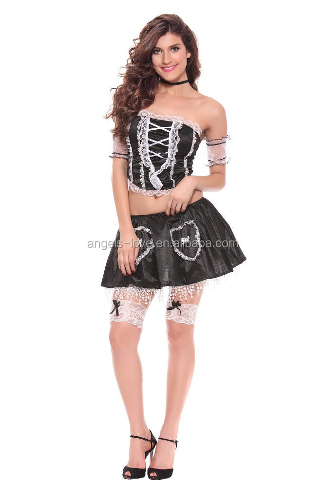 Factory price wholesale purple and white hot sexy costumes cosplay/ french maid