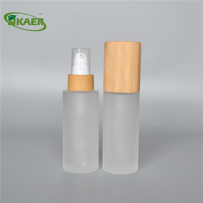 Wholesale 30g50g100g150g200g250g bamboo glass bottles only bamboo lids bamboo lotion spray pump cap