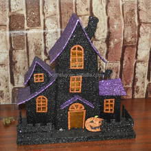 2014 Victorian Halloween paper houses ornaments with pumpkin from Shenzhen factory