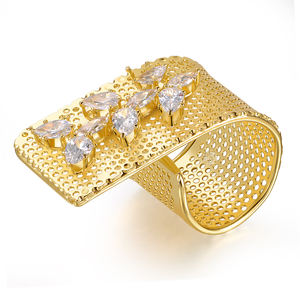Yellow gold plated mesh hollow crystal ring
