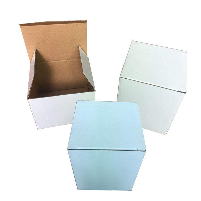 Wholesale cheap white printed corrugated cardboard creative paper carton packaging box for mug shipping cups