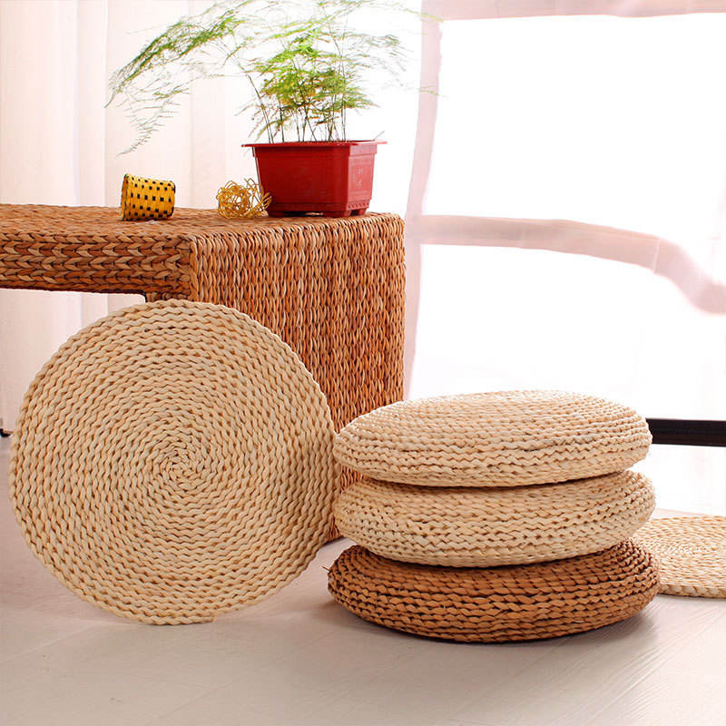 Japanese Style Handcrafted Corn Maize Husk Padded Knitted Meditation Seat Yoga Cushion手Woven Tatami Floor Cushion