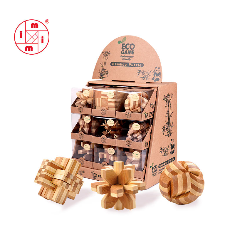 wooden brain game magic cubes brain teaser 3d IQ bamboo puzzle for kids and adults