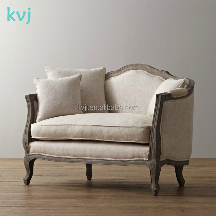 KVJ-7620-1antique divan european style solid wood two seater sofa