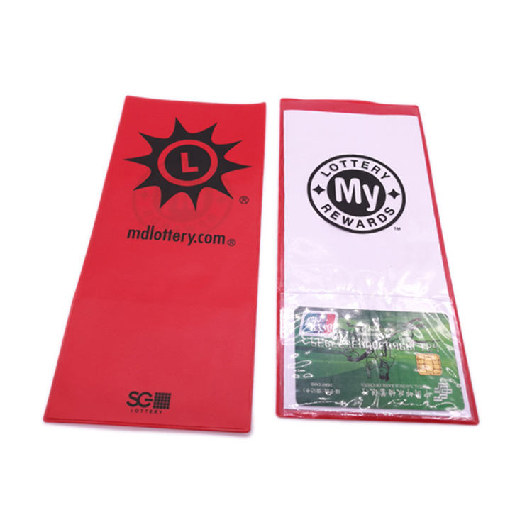 DOUBLE LOTTERY TICKET HOLDER IN BLACK PVC