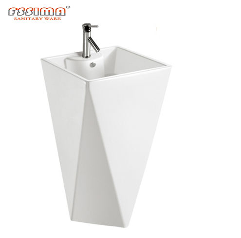 Modern square pedestal washing hand basin/ sink for bathroom