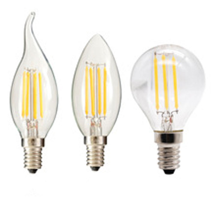 LED tungsten ST64 G45/A60 bulb filament lamp E14/E27 screw C35 tip transparent smart bulb lights