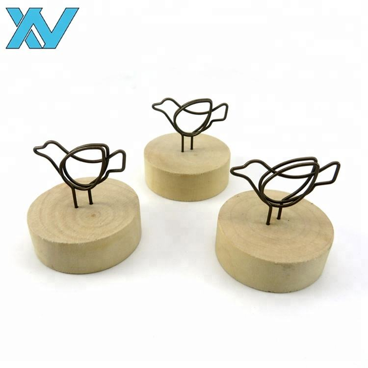 custom metal wire animals birds shape memo clips photo holder wooden base