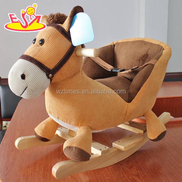 2018 New design baby wooden rocking horse with sound top fashion kids wooden rocking horse with sound W16D095