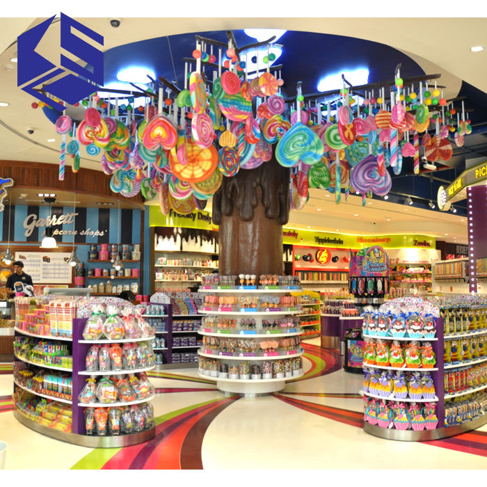Hot sale candy shop interior design sweet shop display stand wooden candy store fixtures