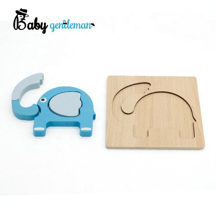 Solid Wood Free Puzzle Free Sample Mini Wooden 3d Elephant Puzzle For Toddlers Z14051D