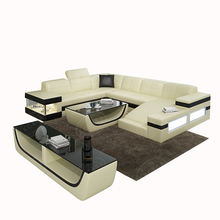 Modern Italian Living Room High Quality Color Sectional U Shaped Genuine Leather Sofa Made In China