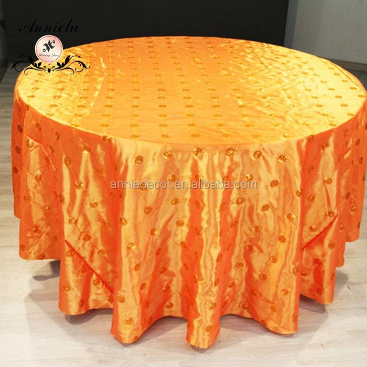 Lujo <span class=keywords><strong>tafetán</strong></span> círculo lentejuelas paño de tabla del banquete de boda