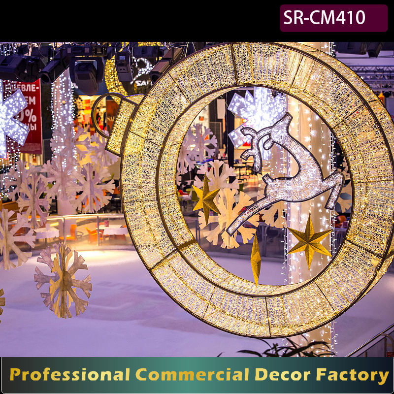 Custom commercial New year shopping center outdoor hanging giant led Christmas ball decoration 4feet 6feet 7feet