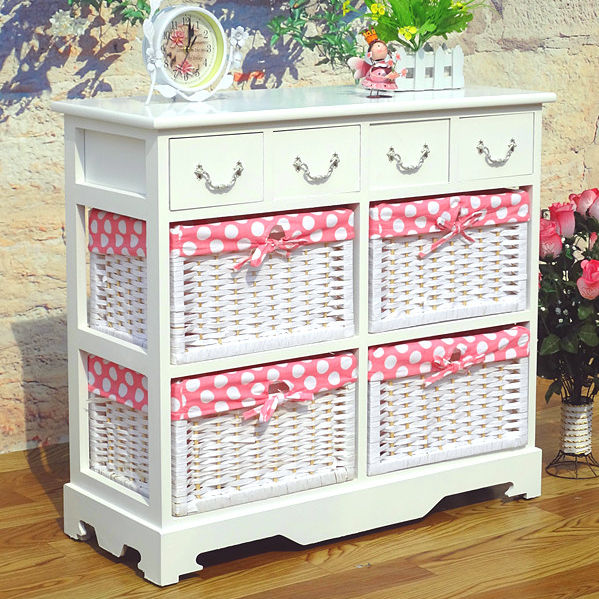 Home decoration wooden storage clothes cabinet furniture with 4 woven baskets