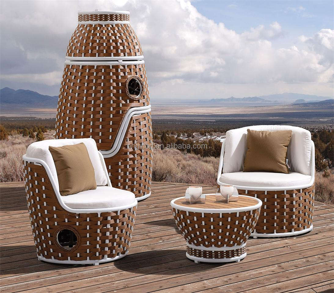 Tower shaped stackable chairs and round coffee table wicker woven outdoor spanish bar furniture