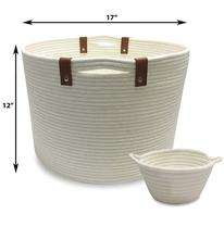 QJMAX Foldable Large Woven Cotton Rope Storage Bag Laundry Basket Set Includes Small Bucket