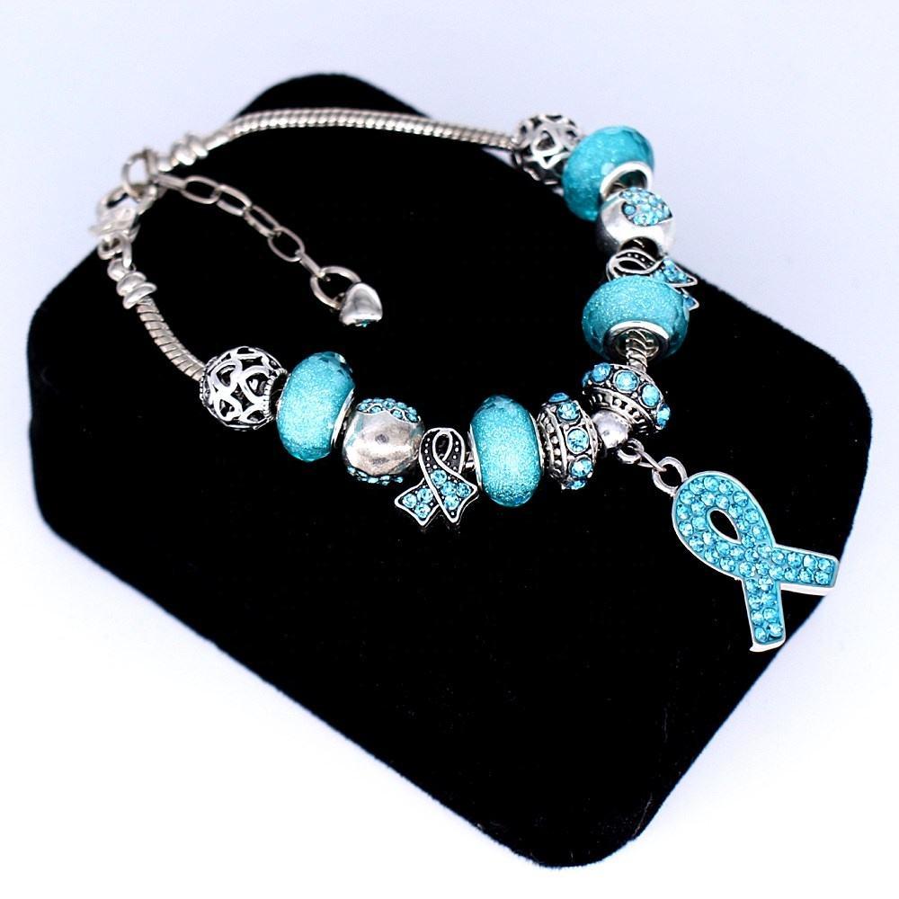 Sieraden En Horloges Ovarian Cancer Teal Crystal Ribbon 925 Solid Sterling Silver European Bead Charm Bedels En Bedelarmbanden Nairobicool Com