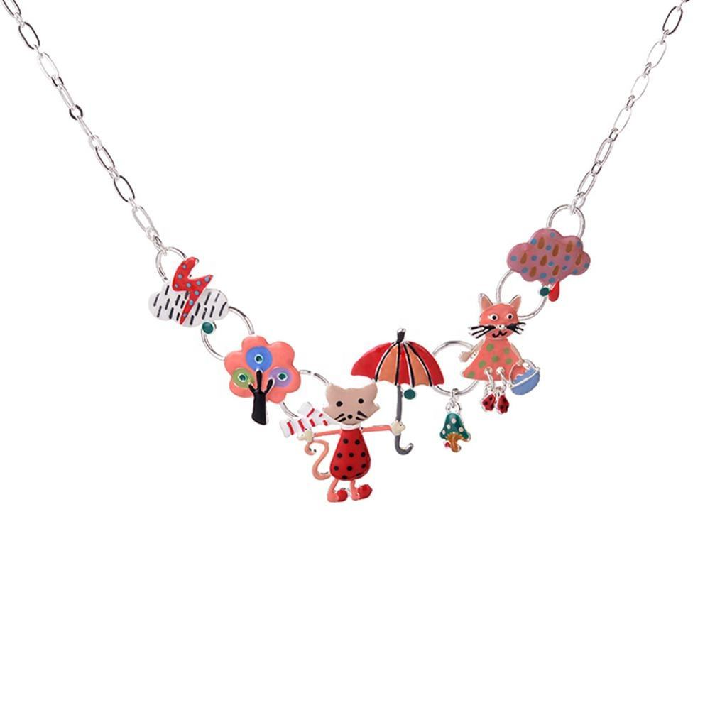 Cring Coco Cute Animal Cats Pendants Necklaces Colorful Enamel Statement Necklace Chain 2020 Jewelry Accessories for Kids Women