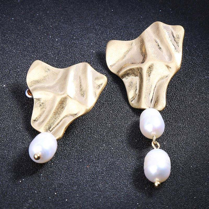 3d geometric earrings South Sea Natural shell freshwater drop Abstract 18 k gold Metal Cultured Pearl Earring