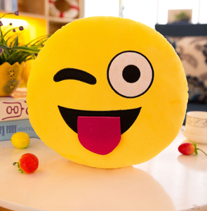 Ins Bruin Leuke Goedkope Pluche Emoticon Whatsapp Custom Soft Cotton Toy Emoji Tas Pluche Stuff Emoji Baby Squishy Speelgoed Kussens emoji