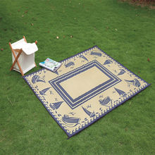 RV Patio Folding Floor Mat Camping Outdoor Checkered Rug Carpet