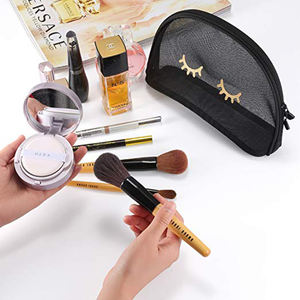 Private Label Black See Through Mesh Eyelash Print Cosmetics Makeup Bags