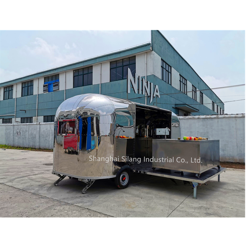 SILANG new mobile shiny / brushed stainless steel airstream food snack display truck, kitchen machine display truck,