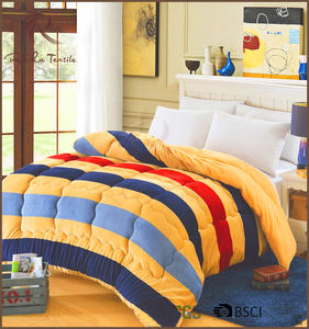 Classic stripes warm quilted flannel fleece comforter