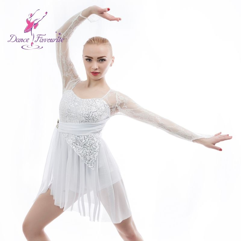 Ballet and Lyrical Dance Costume White Sequin Dress Lycra Short Unitard with Attached Stretch Lace Sleeves and Drape 16034