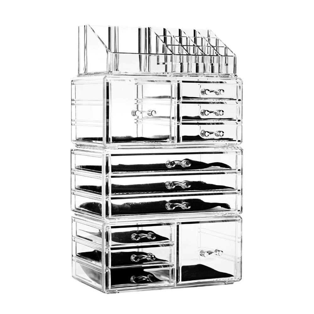 2018 Transparent Acrylic Makeup Organizer With Drawers Clear Jewelry Storage Box Unique Cosmetic Organizer Factory Price